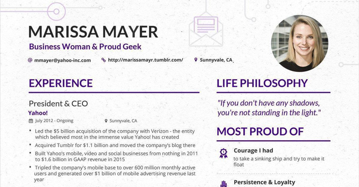 marissa mayer u2019s resume has gone viral again  but is it all it u2019s cracked up to be